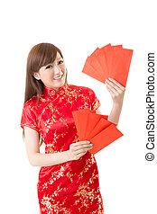 kobieta, koperta, czerwony, chińczyk