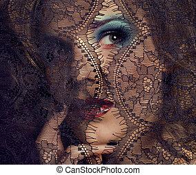 kobieta, koronka, piękno, do góry, młody, mistery, przez, portret, zamknięcie