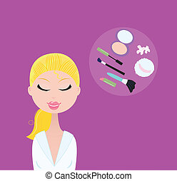 kobieta, kosmetyczny, przybory