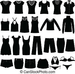 kobieta, koszula, materiał, nosić, samica, dziewczyna