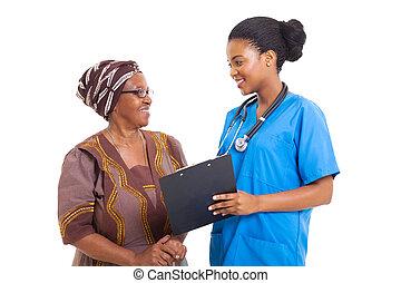 kobieta, kształt, medyczny, młody, porcja, afrykanin, senior, pielęgnować