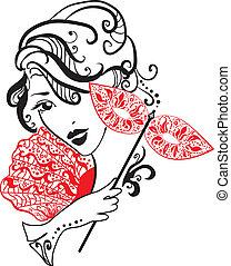 kobieta, kwiaty, maska