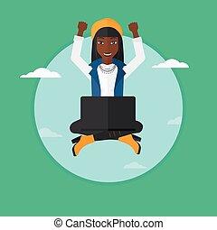 kobieta, laptop., chmura, posiedzenie