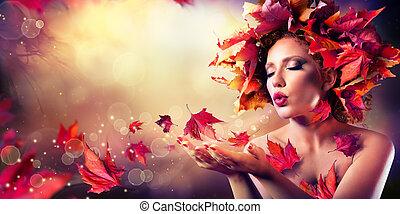 kobieta, liście, podmuchowy, czerwony, jesień
