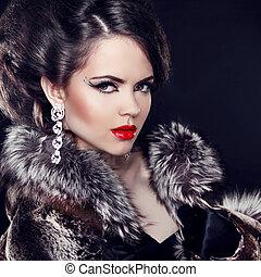 kobieta, luksus, fason, na, biżuteria, czarnoskóry, chodząc, marynarka, tło., lady., elegancki, piękny, futro