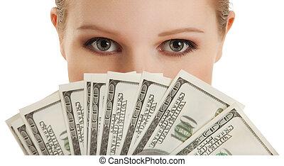 kobieta, młody, money-, twarz, piękny, dolary