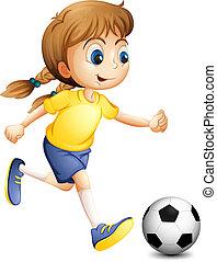 kobieta, młody, piłka nożna, interpretacja