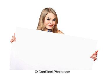kobieta, młody, radosny, przedstawianie, deska, biały