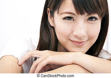 kobieta, młody, uśmiechanie się, asian, piękny