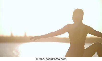 kobieta, młody, woda, wyścigi, zachód słońca, pociągi, łania, przed