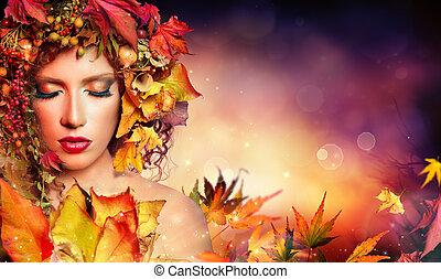 kobieta, magia, piękno, -, jesień, fason