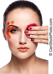 kobieta, makijaż, brunetka, fason, przepych, czysty, paznokcie, odizolowany, pomarańcza, młody, closeup, piękny, usteczka, portret, plastyk, barwny, niezwykły, look., skóra, doskonały, wysoki, sexy, wzór, twórczy, jasny