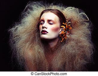 kobieta, makijaż, halloween, piękno
