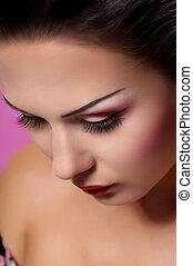 kobieta, makijaż