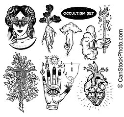 kobieta, mandrake, lock., ręka, drzewo, alchemical, okultyzm, serce, oczy, ręka, komplet, chmury, korzeń, moth, symbolika, bóg, węże