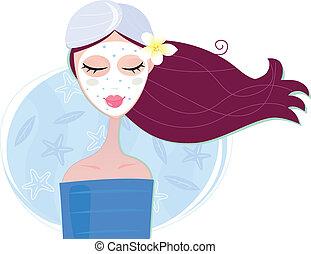 kobieta, maska, łuszczenie, twarzowy, zdrój