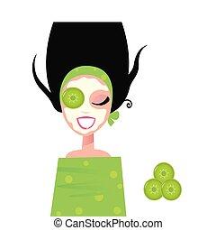 kobieta, maska, ogórek, wellness, twarzowy, zielony, &