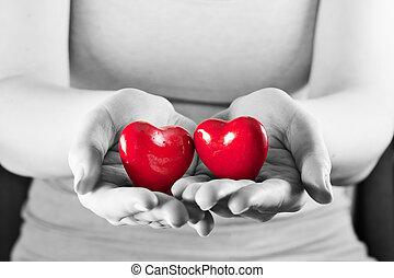 kobieta, miłość, dwa, protection., troska, serca, zdrowie, hands.