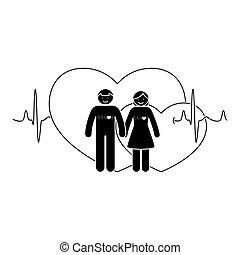 kobieta, miłość, figura, para., ilustracja, wektor, wtykać człowieka