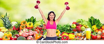 kobieta, na, młody, dieta, tło., szczęśliwy