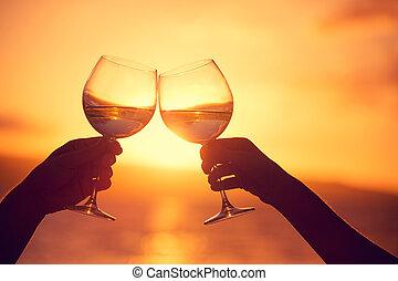 kobieta, niebo, brzęczący, okulary, dramatyczny, zachód słońca, tło, wino, szampan, człowiek