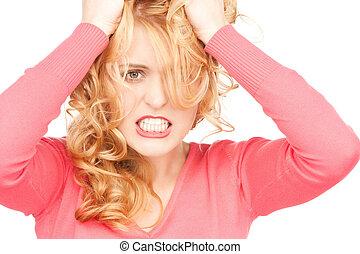 kobieta, nieszczęśliwy