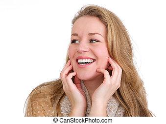 kobieta, odizolowany, młody, do góry, śmiech, tło, siła robocza, zamknięcie, portret, biała twarz