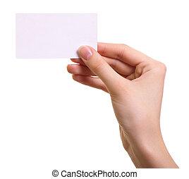 kobieta, odizolowany, ręka, papier, tło, biały, karta