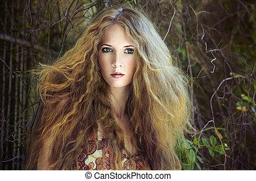 kobieta, ogród, młody, fason, portret, czuciowy