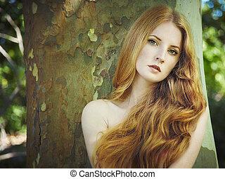 kobieta, ogród, młody, nagi, fason, portret