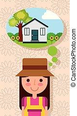 kobieta, ogród, myślenie, dom, drzewo, młody, kwiaty, szczęśliwy