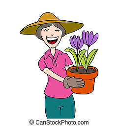 kobieta, ogrodnictwo