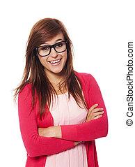kobieta, okulary, fason, portret, uśmiechanie się