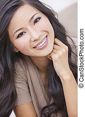 kobieta, orientalny, uśmiechanie się, chińczyk, asian, piękny