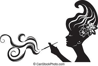 kobieta, palenie, pociągający