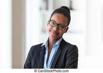 kobieta, peop, handlowy, -, młody, amerykanka, czarnoskóry, afrykanin, portret