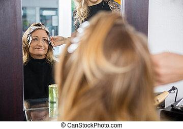 kobieta, piękno, farbowany włos, salon, dojrzały, posiadanie