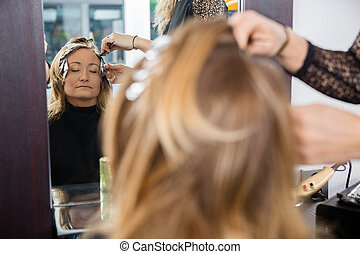 kobieta, piękno, farbowany włos, salon, posiadanie