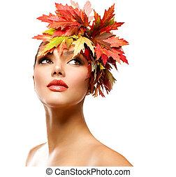 kobieta, piękno, jesień, fason, portrait., dziewczyna