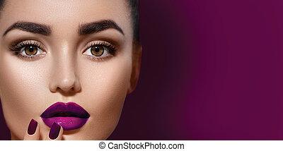 kobieta, piękno, makijaż, brunetka, profesjonalny, święto