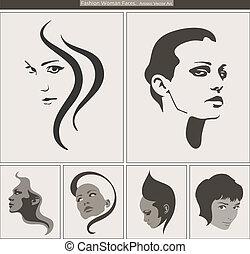 kobieta, piękno, portrait., twarz, wektor, profile, sylwetka