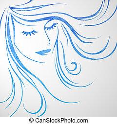 kobieta, piękny