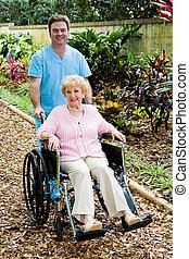 kobieta, pielęgnować, niepełnosprawny, senior