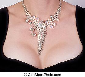 kobieta, pierś, biżuteria
