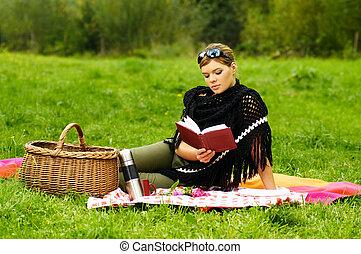 kobieta, piknik