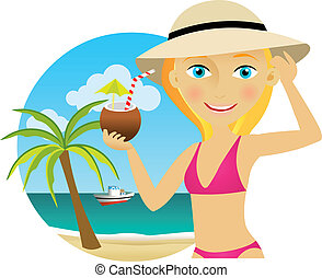 kobieta, plaża, cocktail