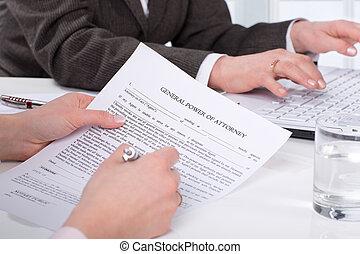 kobieta, podpis, dokument, siła robocza