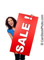kobieta, pokaz, sprzedaż, odizolowany, znak, tablica ogłoszeń, uśmiechanie się, czerwony