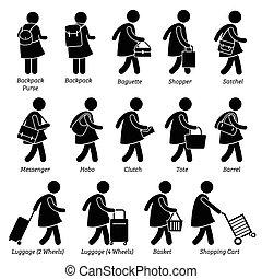 kobieta, portfel, mnóstwo, samica, portmonetka