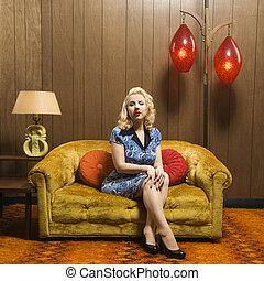 kobieta, portrait., retro